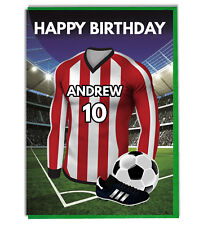 Personalised Football Shirt Birthday Card Son Husband Dad Boys Red White Stripes