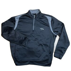 Callaway 1/4 Zip Pullover Golf Jacket Mens Size L Large Black Gray Collared