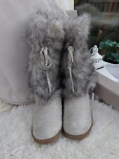 BOOTS: Faux Suede+Fur: Pale  Taupe: Calf Length:  Pull on: Size 7:  BN no Tag