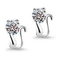 Women Lady Girls 925 Sterling Silver Cute Zircon Cat Ear Stud Earrings
