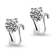Wholesale Jewellery Solid 925 Sterling Silver Cute Zircon Cat Ear Stud Earrings