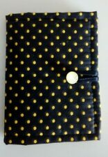 Handmade Black and Yellow Polkadot Padded Needle Case with Yellow Felt Pages