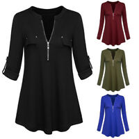 Fashion Women Casual Roll-Up Sleeve T-Shirt Zip Up V Neck Tunic Tops Blouse Fall