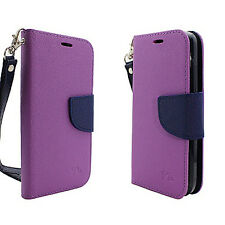 For LG Fiesta L64VL Premium Leather 2 Tone Wallet Case Pouch Flip Phone Cover