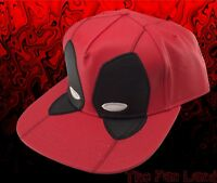 New Marvel Deadpool Faux Leather Mens Red Snapback Hat Cap