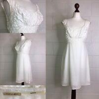 Max Studio Ivory Cream Dress Vintage Retro Style Silk Wedding Party Lace 12 /L39