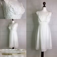Max Studio Ivory Cream Dress Vintage Retro Style Silk Wedding Party Lace 12 /L39