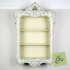Ornate Shabby Chic French Country Rococo Wall Display Shelf Unit Cabinet Cream
