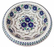 """7"""" White Marble Dry Fruit Bowl Lapis Floral Marquetry Inlay Art Decor"""