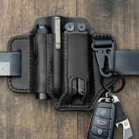 EDC Pocket Leather Sheath For Blet Knife Tool Flashlight Tactical Pen Holster