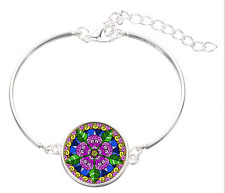 Mandala flower glass cabochon Tibet silver  Fashion charm bangle  bracelets