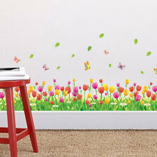 Tulip Butterfly DIY Wall Border Decals Removable Window Sticker Decor Mural