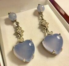 Blue Chalcedony And Diamond Dangle Earrings 18K WG