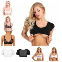 Fashion Women Short Sleeve Mesh Bustier Crop Top Vest Tube Tank Top Blouse Shirt