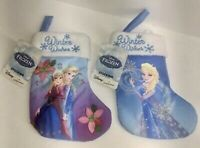 "Frozen - Set Of 2 - Small Anna And Elsa  Stockings 7"" W/tags *Kohl's $9.99 Each"