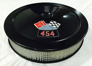 "BLACK CHEVROLET AIR CLEANER 14"" ROUND 4 BBL WHITE FILTER 454 DECAL NEW"