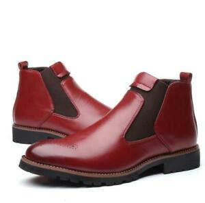 Brock Carved Casual Men's Ankle Boots Faux Leather Chelsea Boots Round Toe Shoes