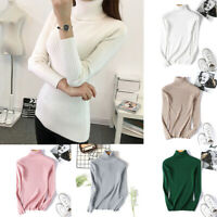 Warm Pullover Fit Sleeve Turtleneck Sweater Top Womens Slim Long Knitted Winter