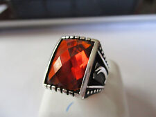 Gorgeous Islamic Sterling Silver Ring Unisex Diamond Cut Brown Stone size 9