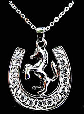 "Lucky Horseshoe Pony Horse Pendant Necklace 18"" Chain Fast Shipping"