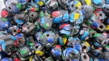 25 Blue Black Vintage African Trade Face Beads Old Stock 20-25mm QTY25 C47