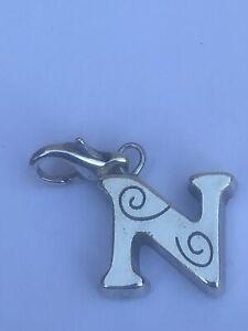 Brighton retired Chic Alpha initial N silver clip on charm