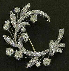 Antique Elegant 3.81CTW VVS1 Round Diamond Floral Wreath Brooch Pin