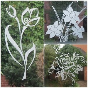 FROSTED,ETCHED FLOWER STICKERS, DECAL FOR PATIO DOOR/WINDOWS, SHOWERS, MIRRORS