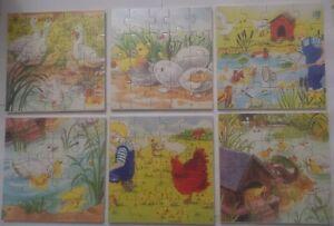lot de 6 puzzles en bois 20 pièces éducatif animal,ferme cadeaux neuf emballé