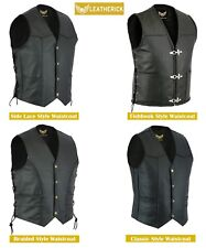 Men Classic Black Motorcycle Biker Style Genuine Real Leather waistcoat Vest