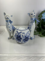 3 Piece Lot / Blue White Floral Painted Long Neck CAT Figurines & Candle Holder