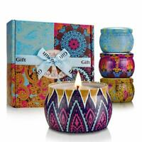 4-Pack 4.4oz Scented Stress Relief Soy Wax Candles Women Gift Set Decorated Jars