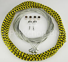 Bicycle 5mm LINED vintage ROAD bike brake cable kit  YELLOW BLACK CHECKERBOARD