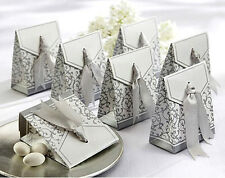 Silver Wedding Favour Boxes Party Sweets/Candy Boxes with Sealed Ribbon Ties