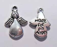 25 Antique Silver Metal Made For Angel Charms Favours Baby Christening B01083