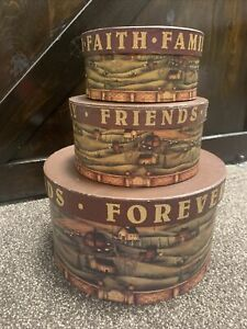 Primitive Country Scene Round Wood Nesting Boxes Set 3 Country Decor