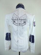 ROCK & REPUBLIC WHITE DENIM JACKET GRAPHIC BLAZER SKULLS UNION JACK S FABULOUS!
