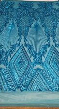 AQUA TURQUOISE  JEWEL  Big Print, Sequin, 4-way Stretch, SOLD BY THE YARD 55""