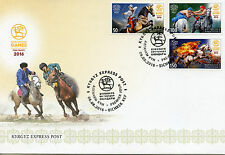 Kyrgyzstan KEP 2016 FDC 2nd World Nomad Games 3v Set Cover Horses Sports Stamps