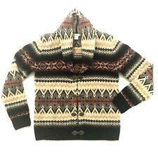 SUSAN BRISTOL XS Nordic Sweater Wool Fair Isle Clasp Cardigan Southwestern
