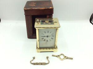 Rare Antique Vintage Brass Cased Mechanical Carriage Clock Original Leather Case