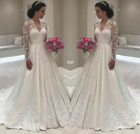 Princess Long Sleeve V-Neck Wedding Dresses Lace Bridal Gowns Custom Made 2019