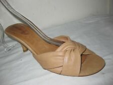 Corso Como Leather Brown Heel Slide Sandals Shoes Size 9