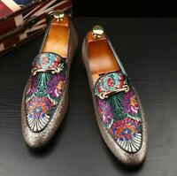 Men's Clubwear Loafers Slip On Leather Floral Pointy Toe Sequin Metal Shoes Sz