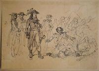 Dessin Ancien Encre Scène Bataille Soldats CLÉMENT AUGUSTE ANDRIEUX c.1850 XIXe