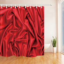 Folded Red Silk Bathroom Shower Curtain Waterproof Fabric w/12 Hooks 71*71inches