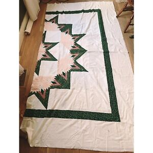 "Unfinished Quilt Top Large Handmade Pastels Sun Star Huge 106""x96"""