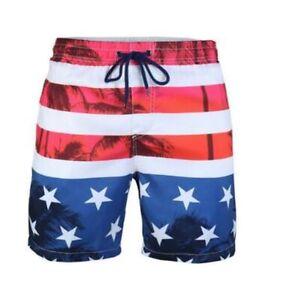 Beautiful Giant Mens Swimwear Red White Blue Large L American Flag Trunk $45 239