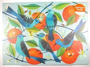 "Galison - Naranjas 1000 Piece Jigsaw Puzzle birds fruit 27""x20"" orange  complete"