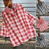 Womens Summer Short Sleeve Hooded Shirt Casual Loose Check Tops Blouse Plus Size